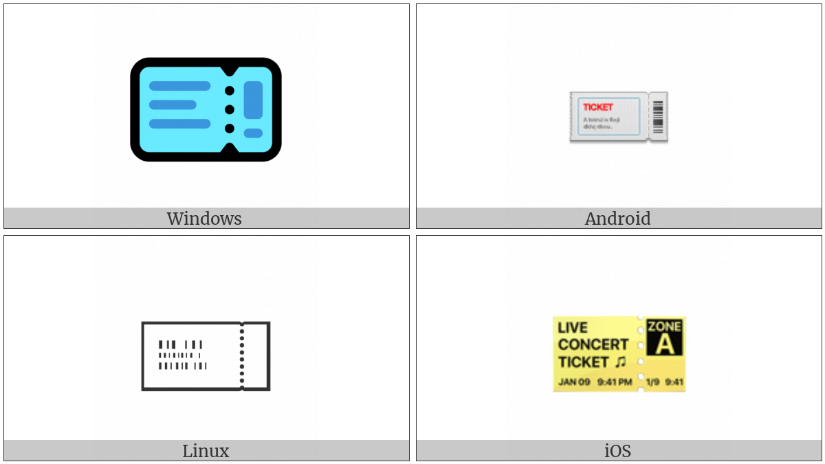 Ticket on various operating systems
