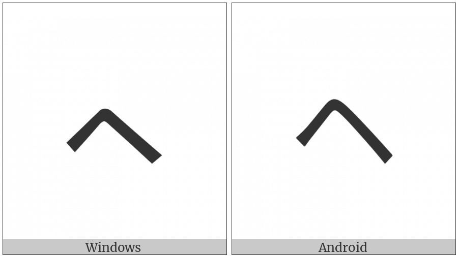 Katakana Letter Small He on various operating systems