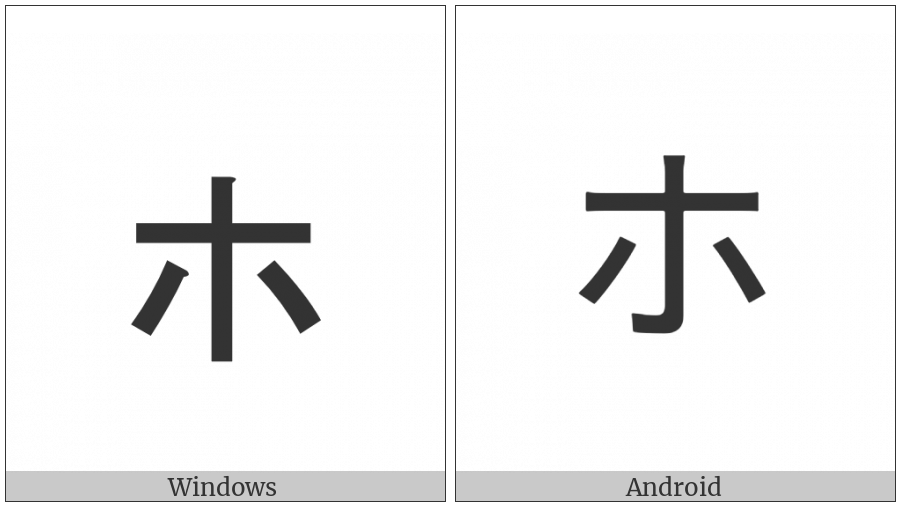 Katakana Letter Small Ho on various operating systems