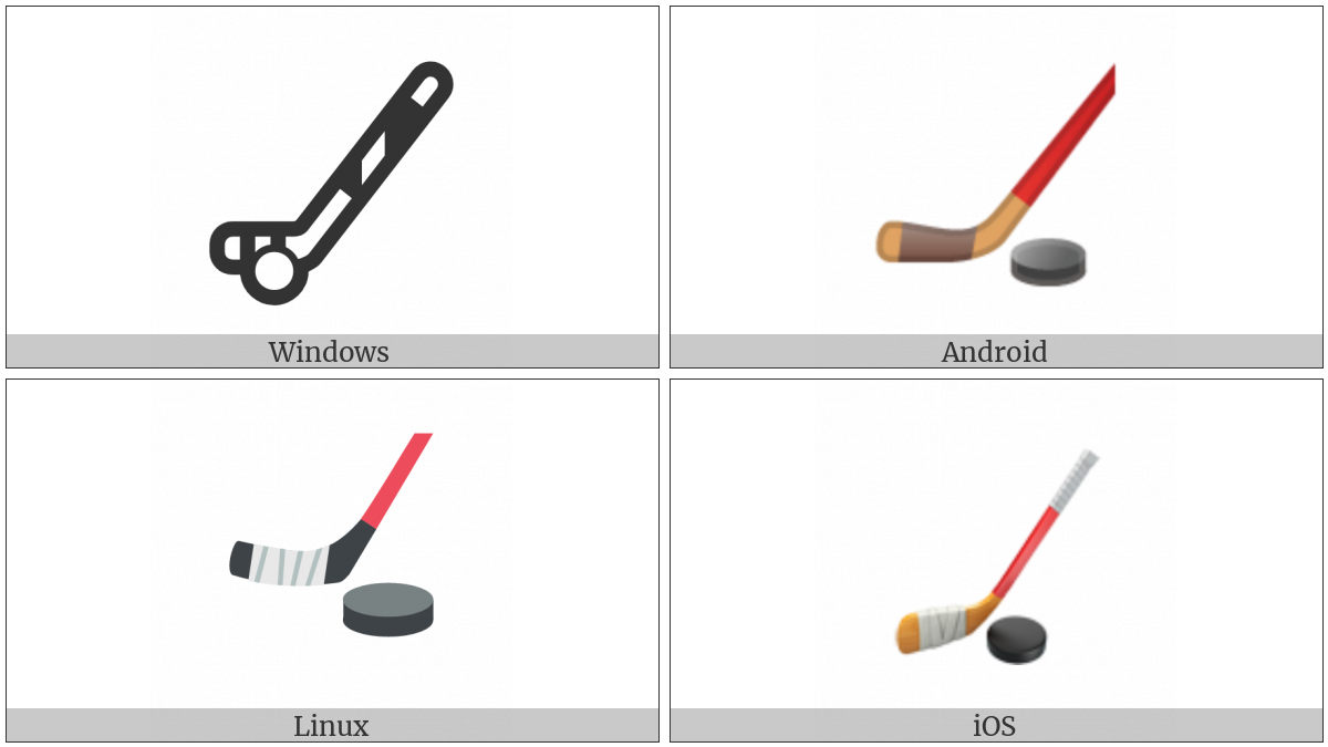 Ice Hockey Stick And Puck on various operating systems