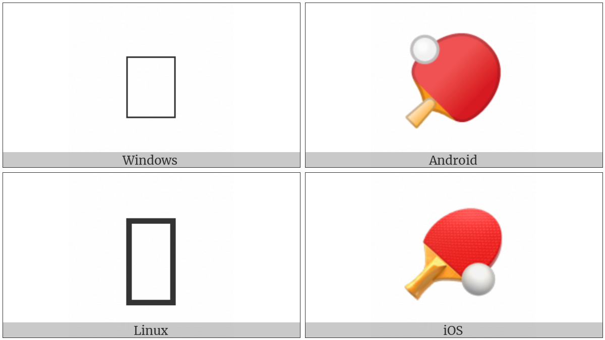 Table Tennis Paddle And Ball on various operating systems