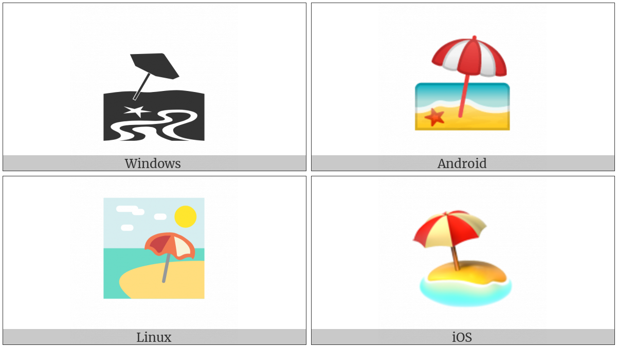 Beach With Umbrella on various operating systems