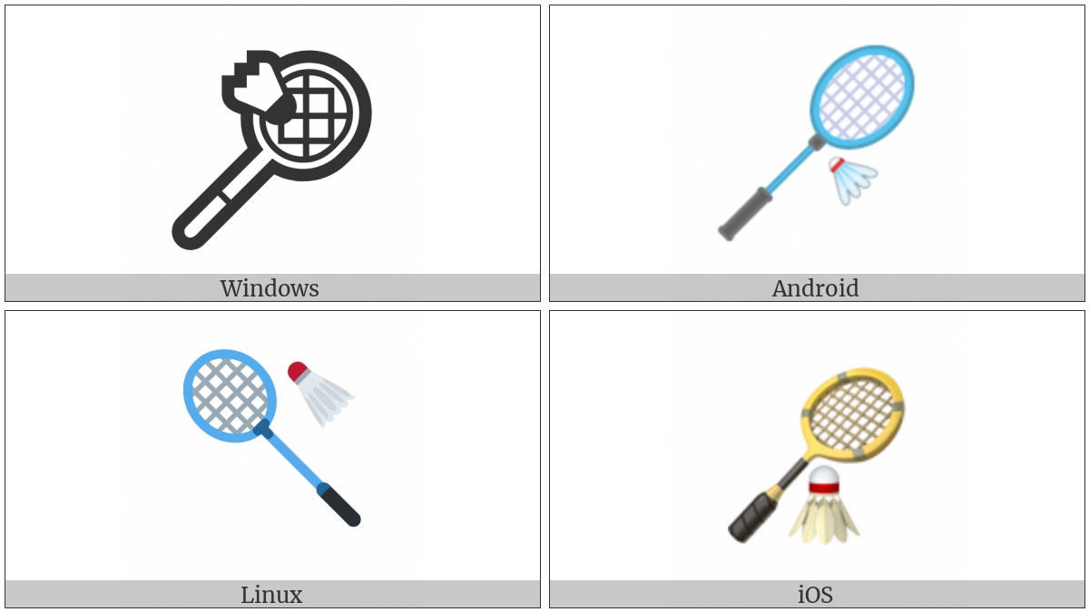 Badminton Racquet And Shuttlecock on various operating systems