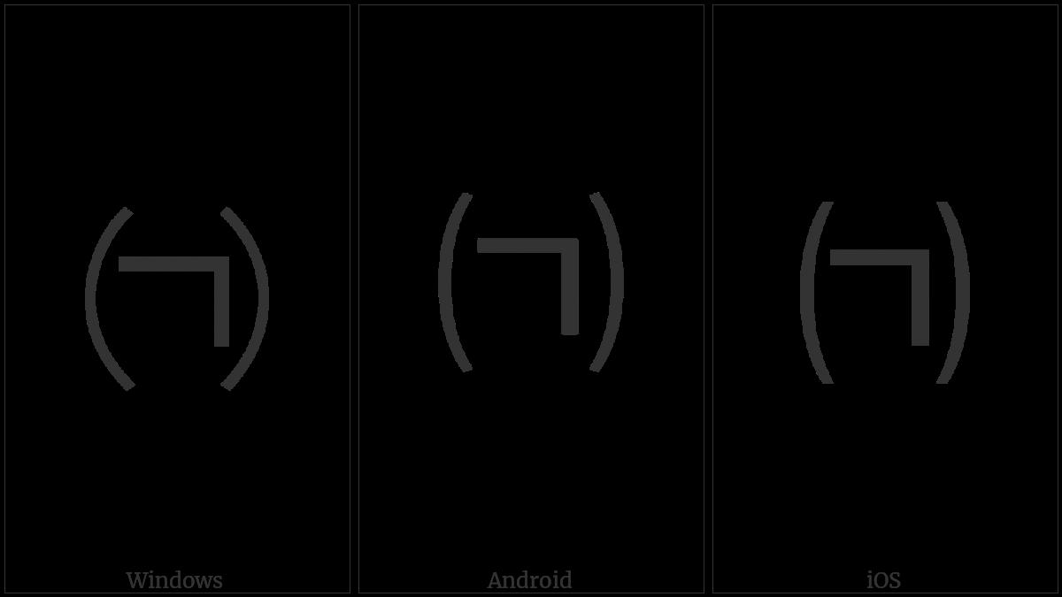 Parenthesized Hangul Kiyeok on various operating systems