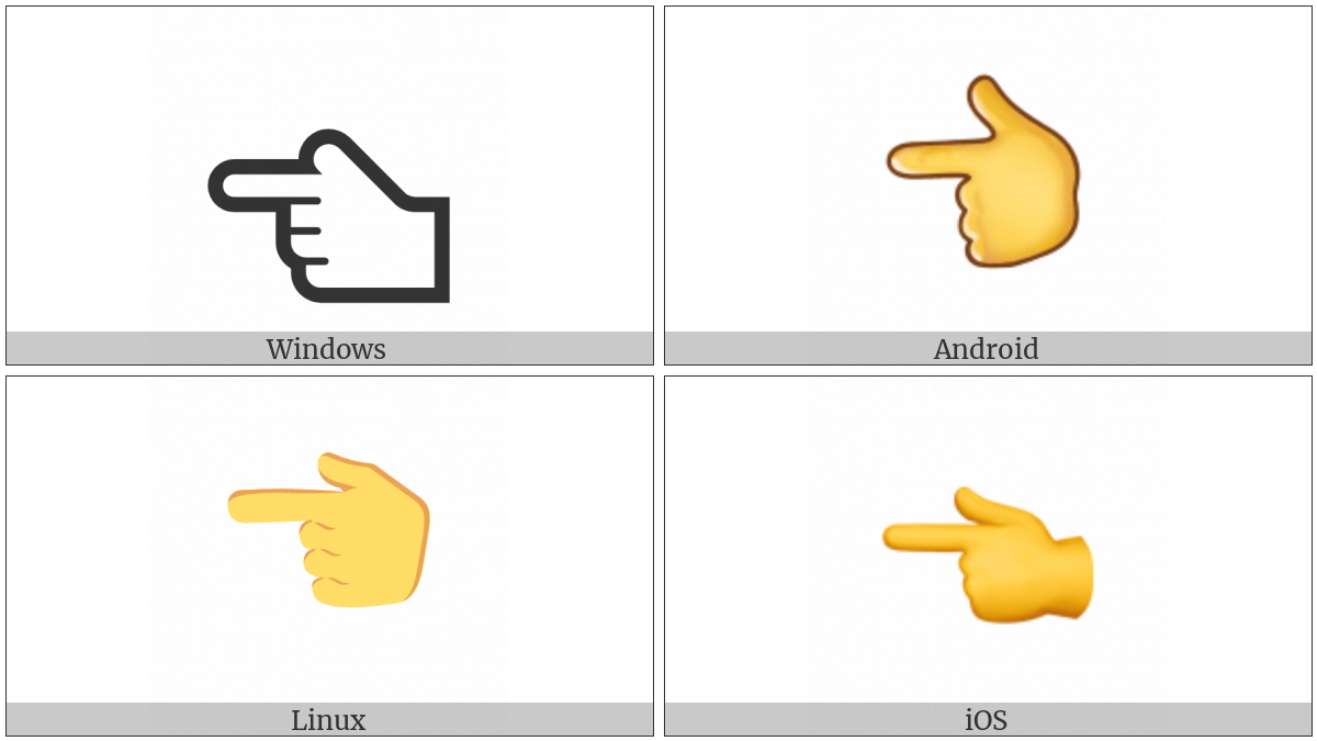 White Left Pointing Backhand Index on various operating systems