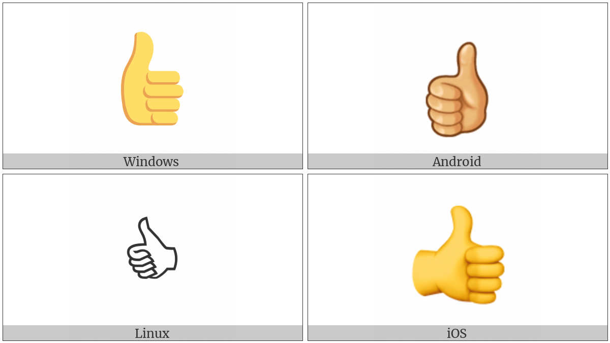 Thumbs Up Sign on various operating systems