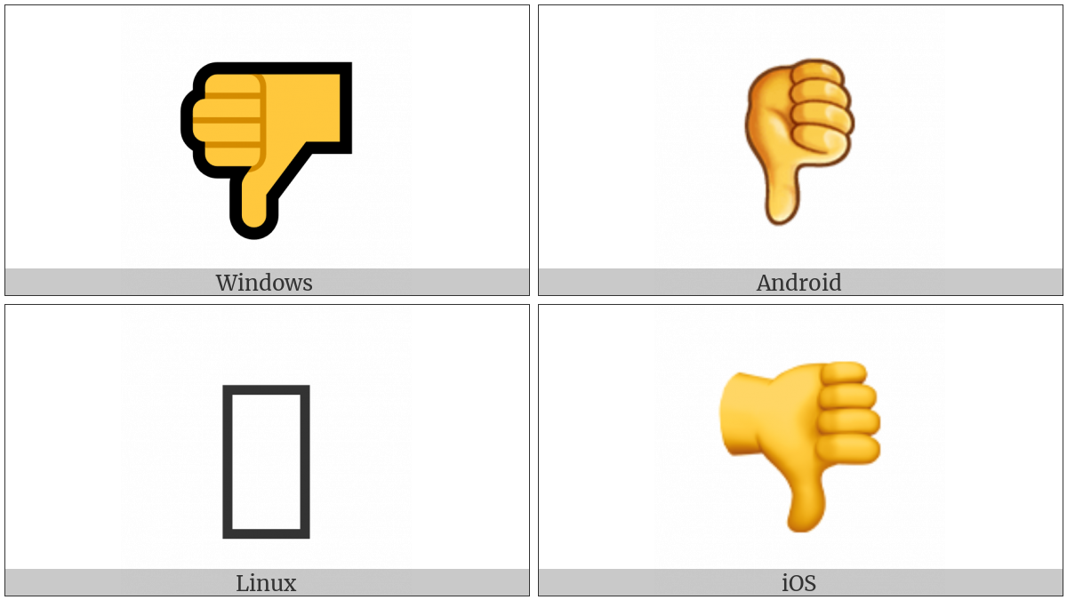 Thumbs Down Sign on various operating systems