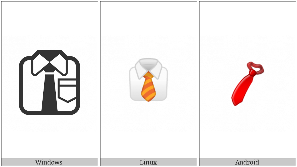 Necktie on various operating systems