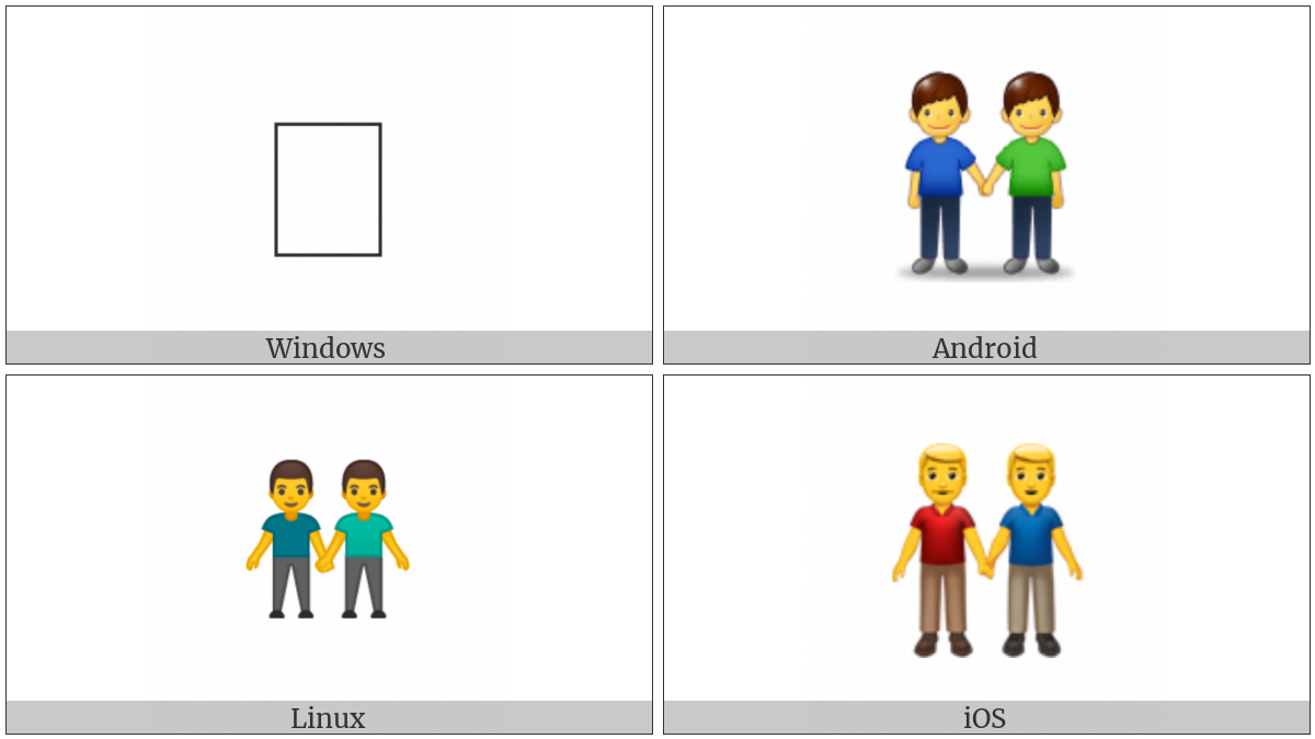 Two Men Holding Hands on various operating systems