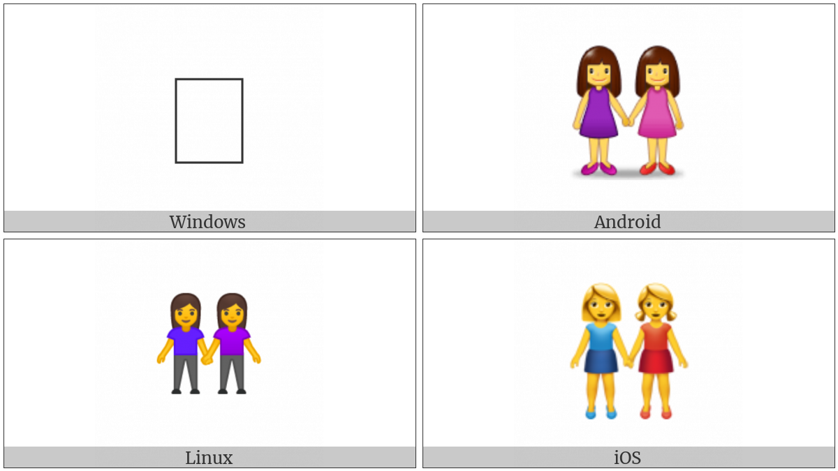 Two Women Holding Hands on various operating systems