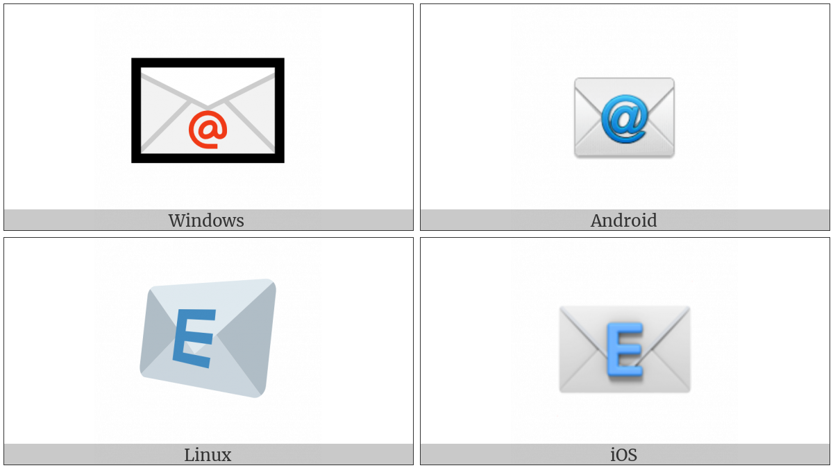 E-Mail Symbol on various operating systems