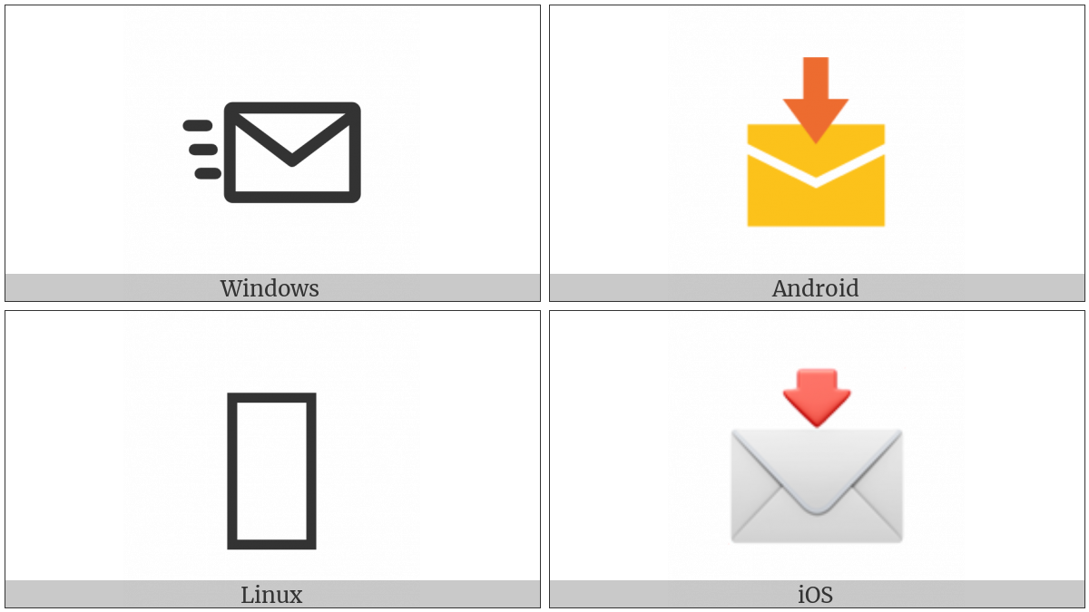 Envelope With Downwards Arrow Above on various operating systems
