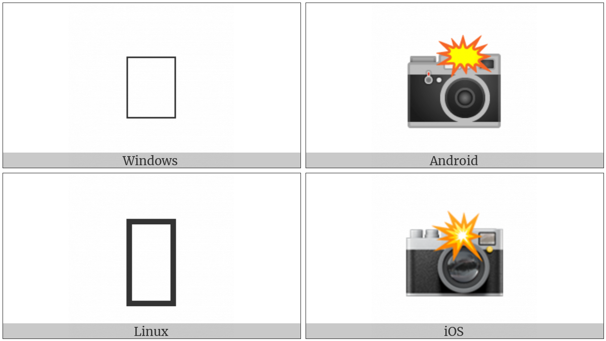 Camera With Flash on various operating systems