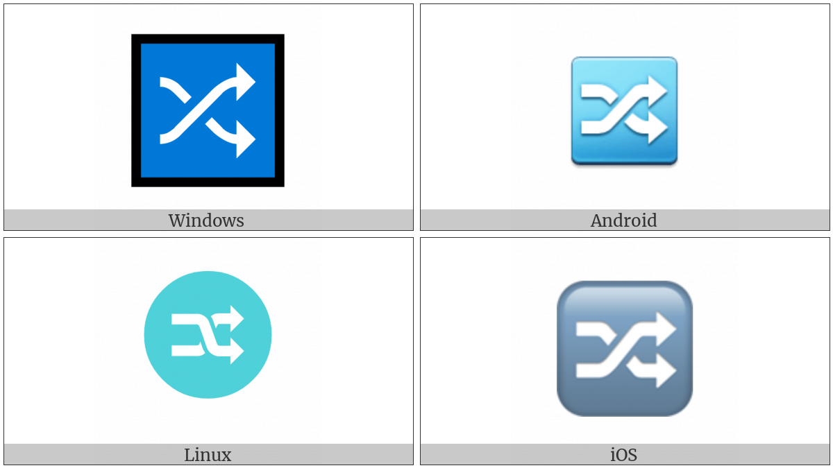 Twisted Rightwards Arrows on various operating systems
