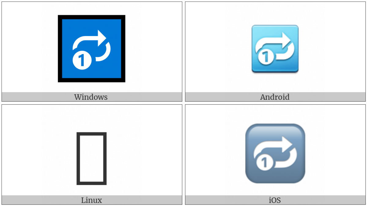 Clockwise Rightwards And Leftwards Open Circle Arrows With Circled One Overlay on various operating systems