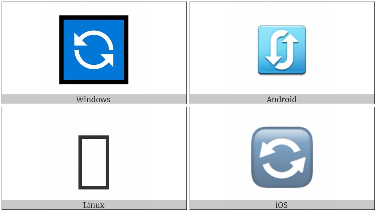 Anticlockwise Downwards And Upwards Open Circle Arrows on various operating systems