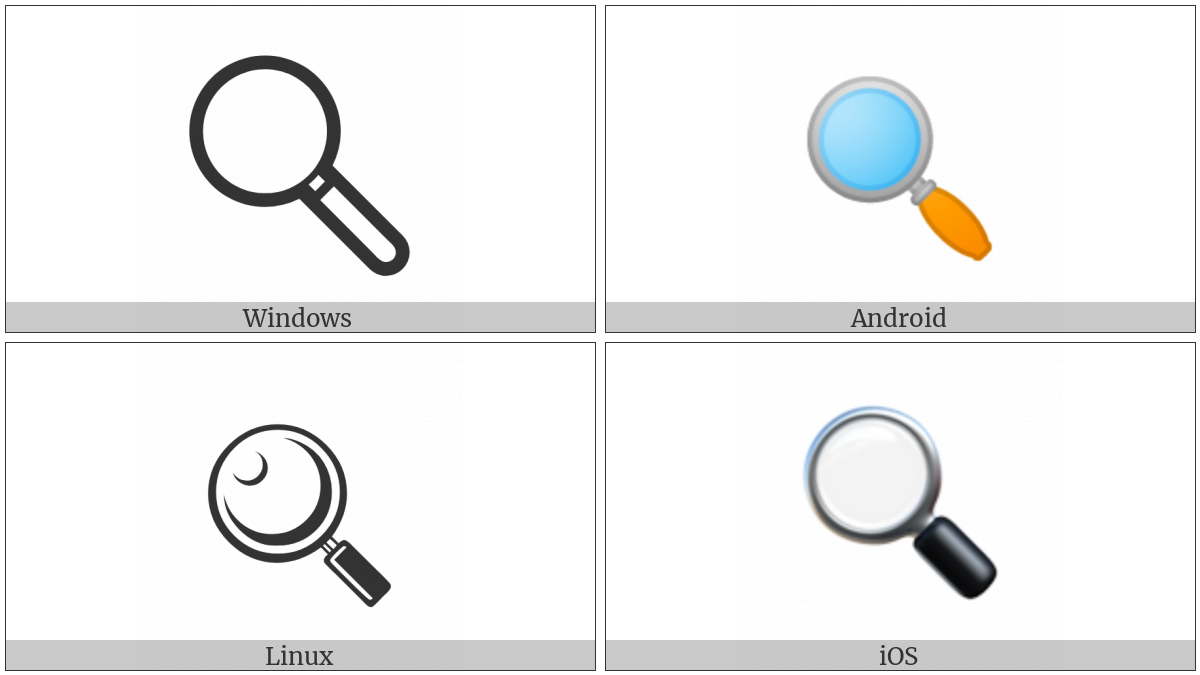 Left-Pointing Magnifying Glass on various operating systems