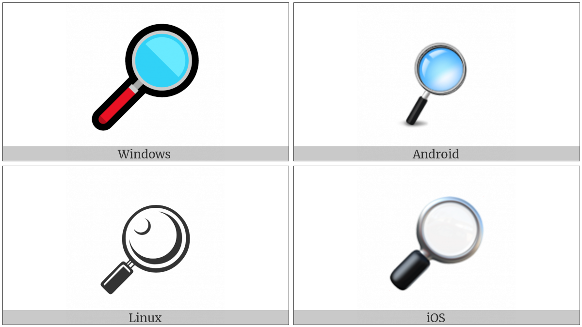 Right-Pointing Magnifying Glass on various operating systems