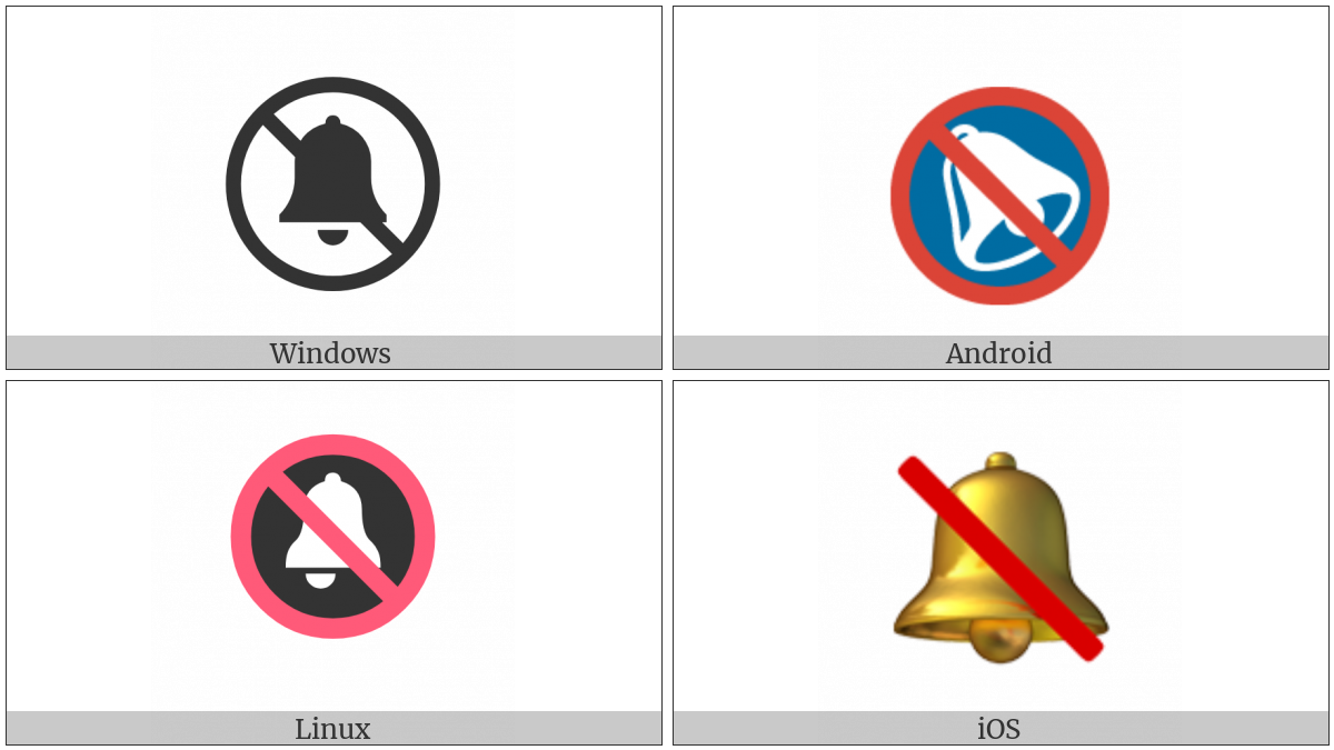 Bell With Cancellation Stroke on various operating systems