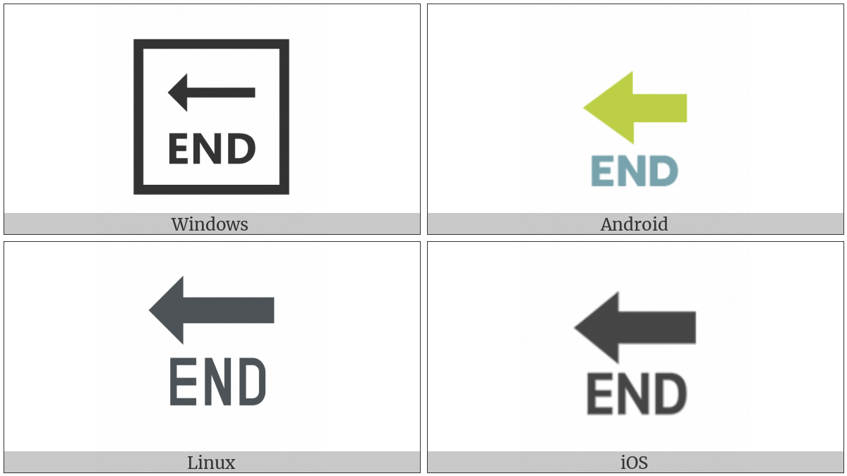 End With Leftwards Arrow Above on various operating systems
