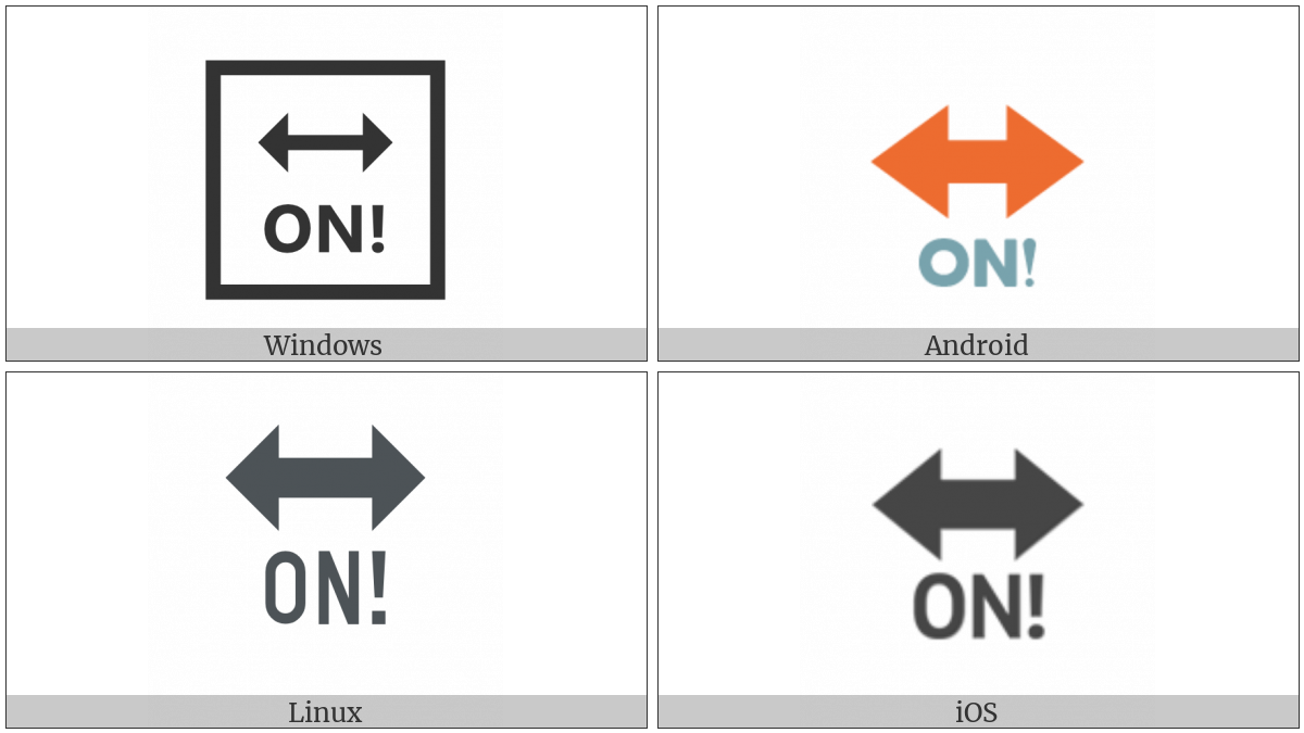 On With Exclamation Mark With Left Right Arrow Above on various operating systems