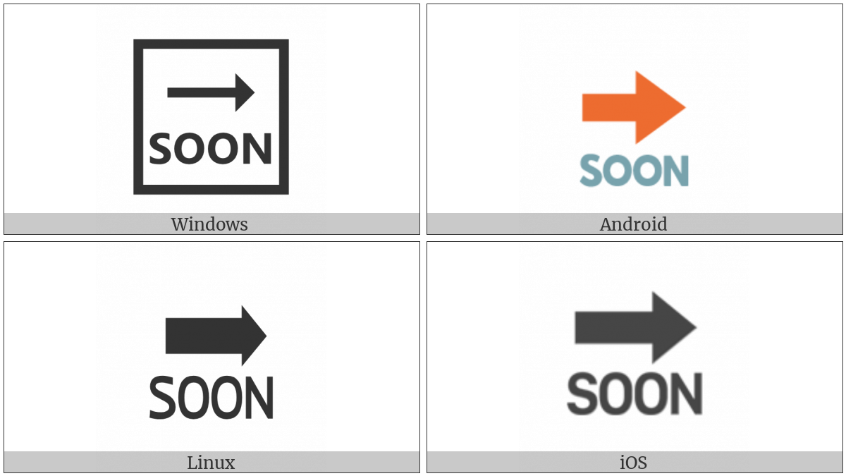 Soon With Rightwards Arrow Above on various operating systems