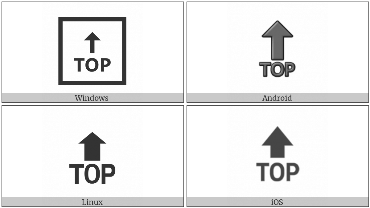 Top With Upwards Arrow Above on various operating systems