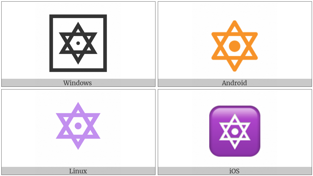 Six Pointed Star With Middle Dot on various operating systems