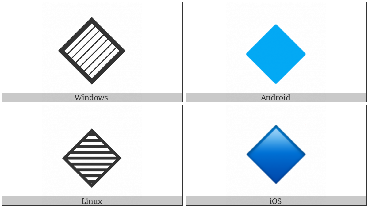 Large Blue Diamond on various operating systems