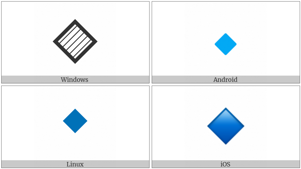 Small Blue Diamond on various operating systems
