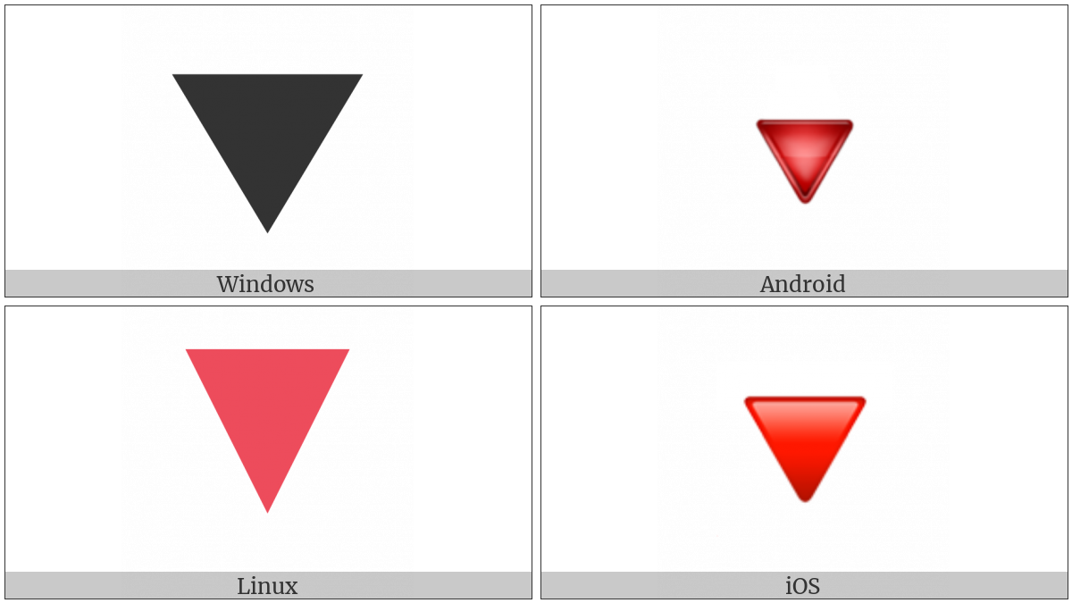 Down-Pointing Red Triangle on various operating systems