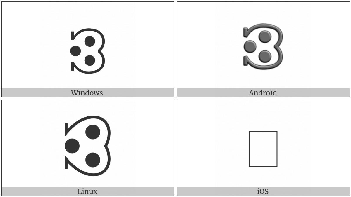 Notched Right Semicircle With Three Dots on various operating systems