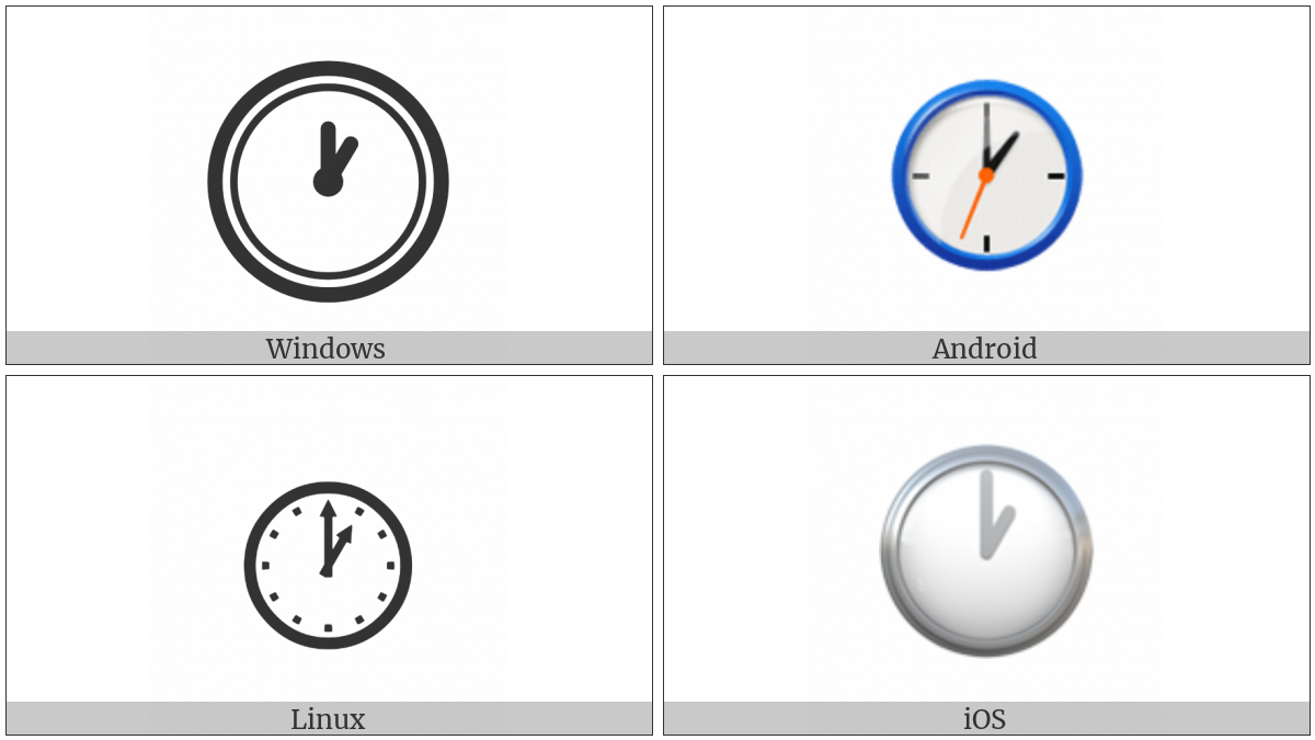 Clock Face One Oclock on various operating systems