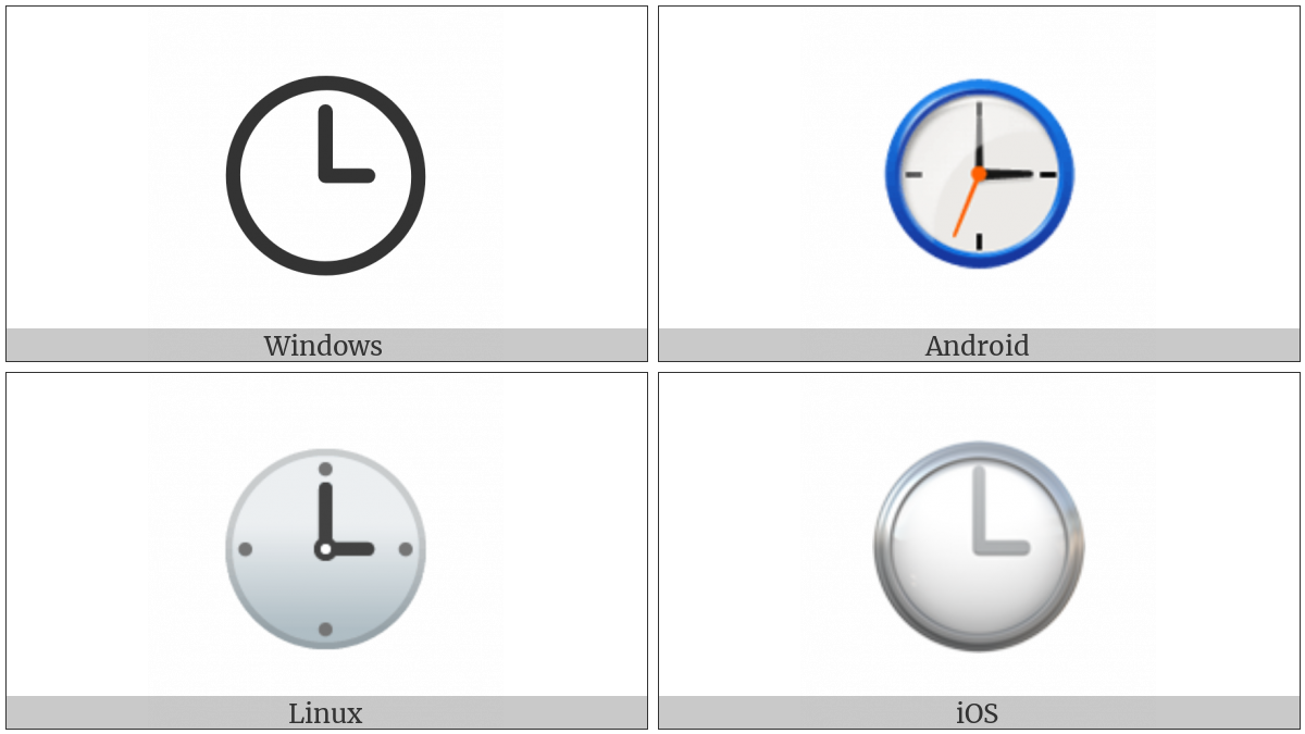Clock Face Three Oclock on various operating systems