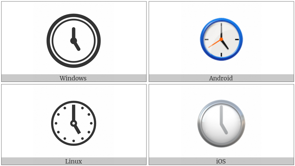 Clock Face Five Oclock on various operating systems