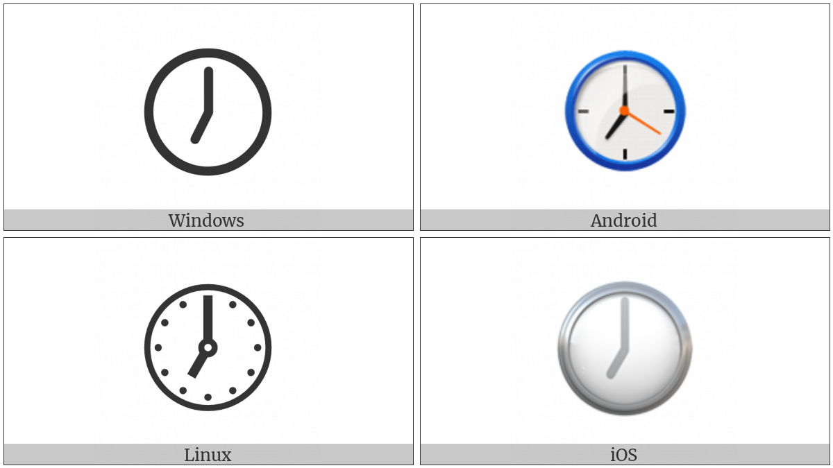 Clock Face Seven Oclock on various operating systems