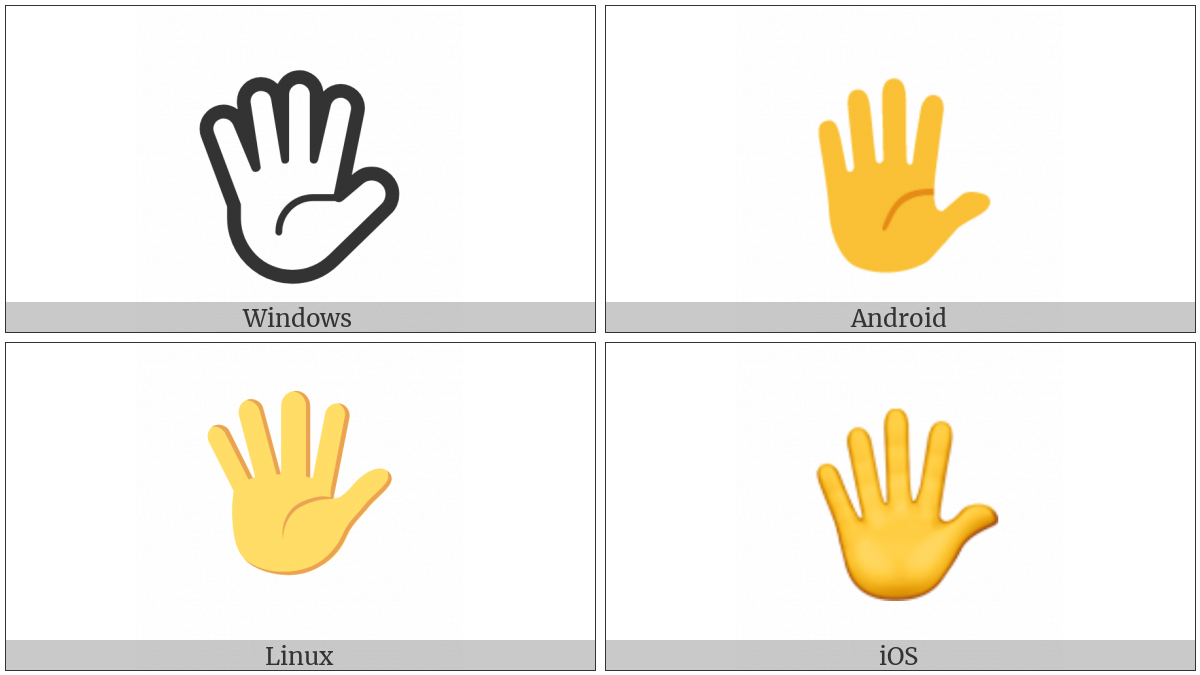 Raised Hand With Fingers Splayed on various operating systems