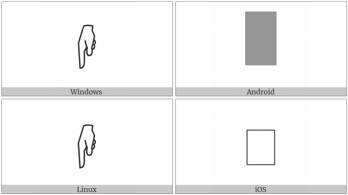 Sideways White Down Pointing Index on various operating systems