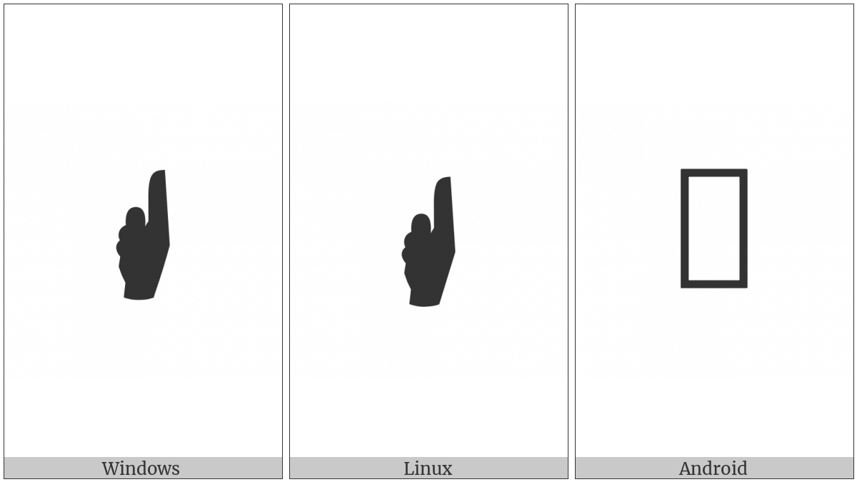 Sideways Black Up Pointing Index on various operating systems