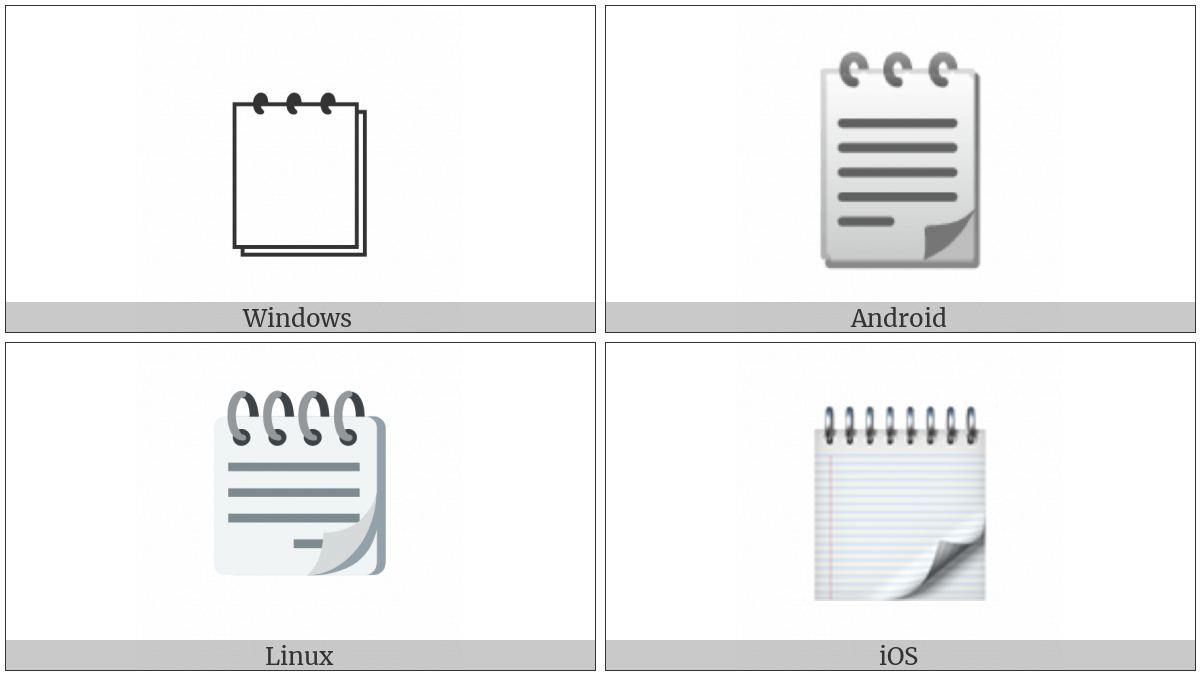 Spiral Note Pad on various operating systems