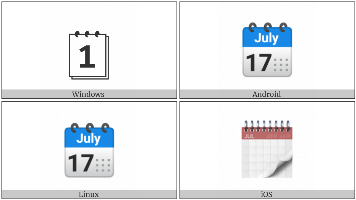 Spiral Calendar Pad on various operating systems