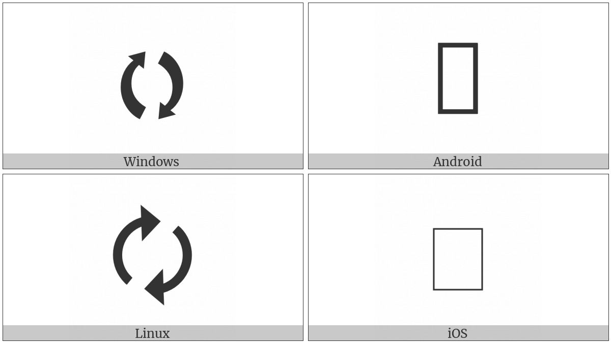 Clockwise Right And Left Semicircle Arrows on various operating systems