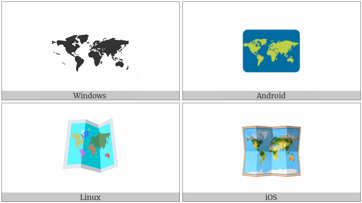 World Map on various operating systems
