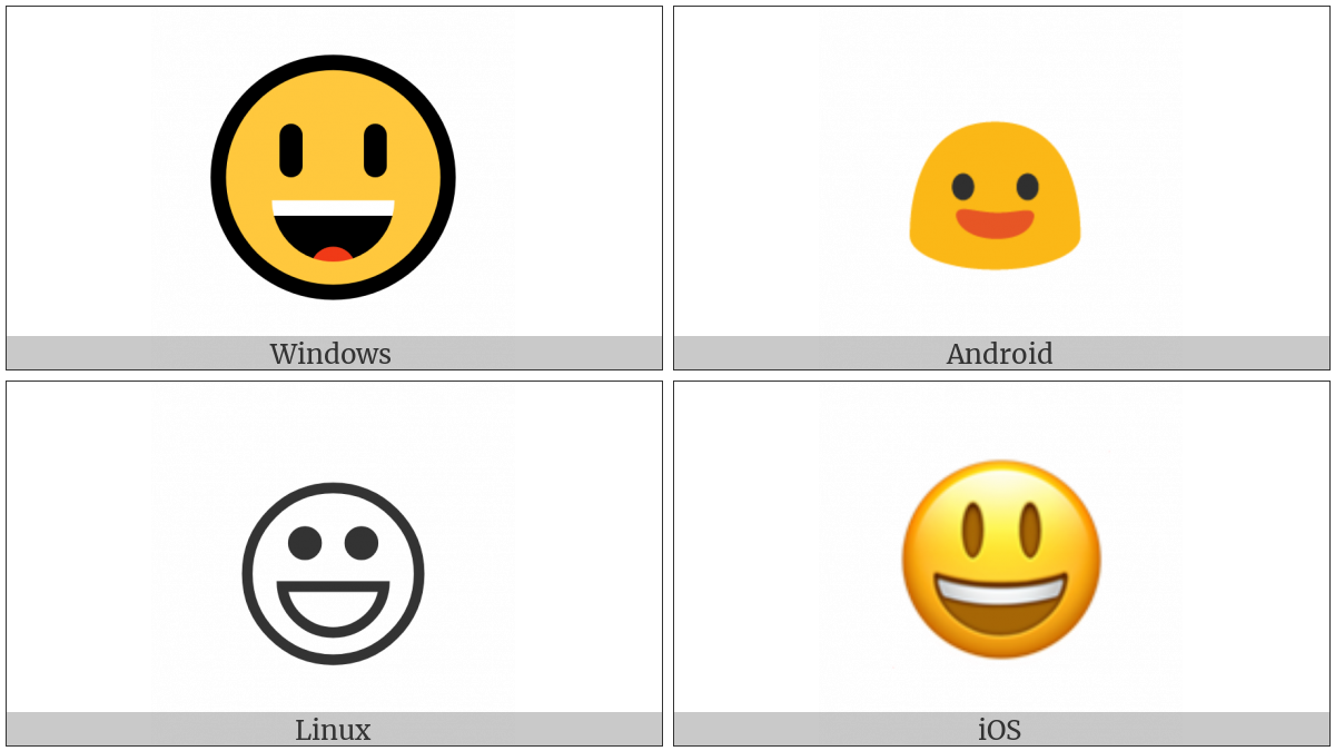 Smiling Face With Open Mouth on various operating systems