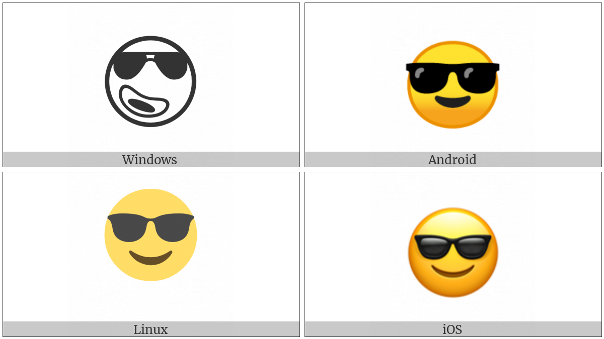 Smiling Face With Sunglasses on various operating systems