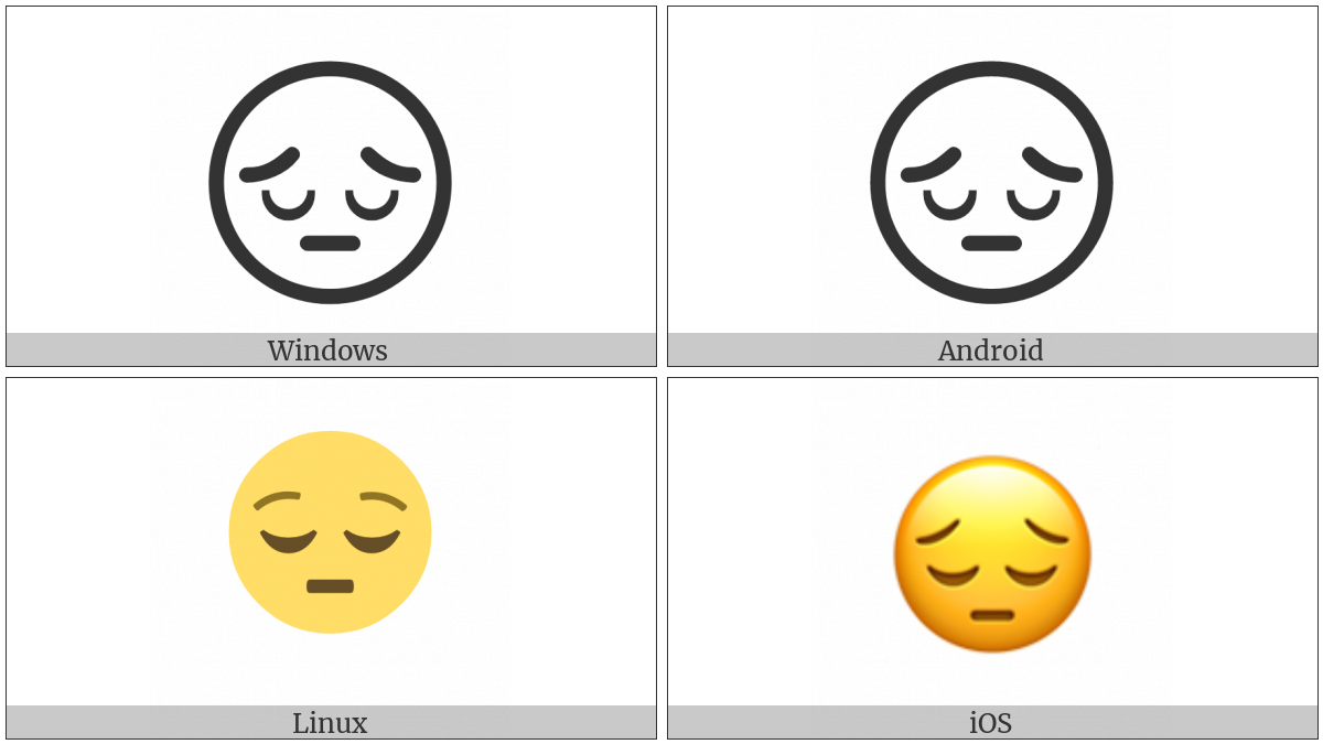 Pensive Face on various operating systems