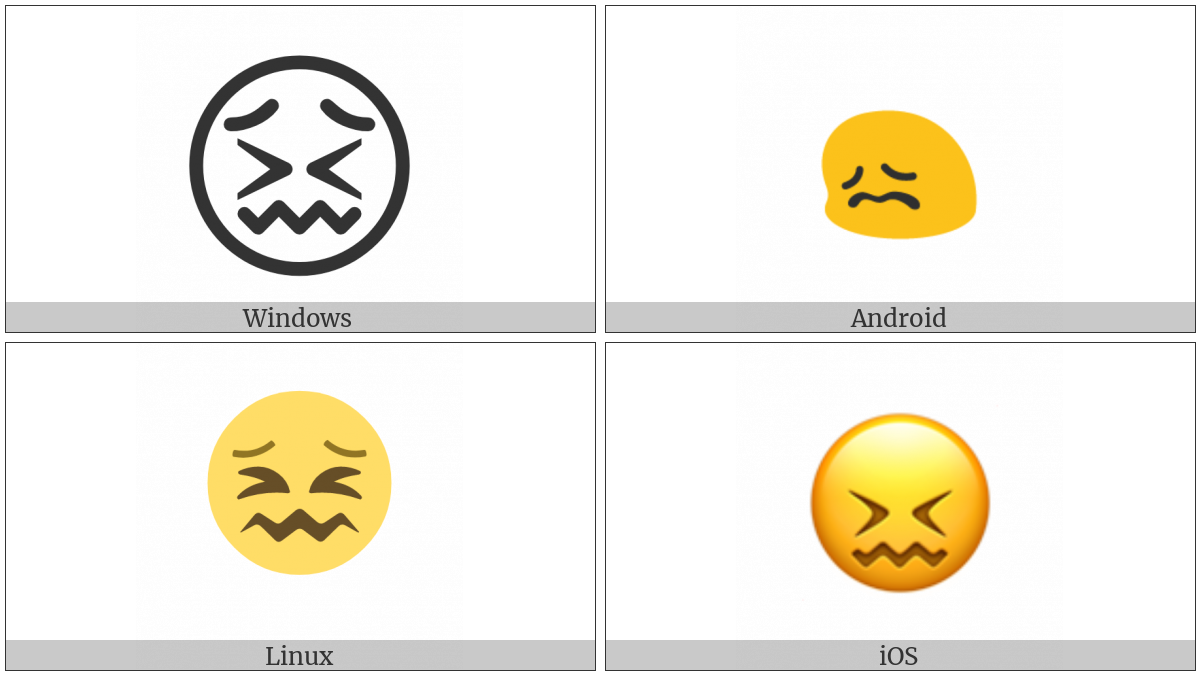 Confounded Face on various operating systems
