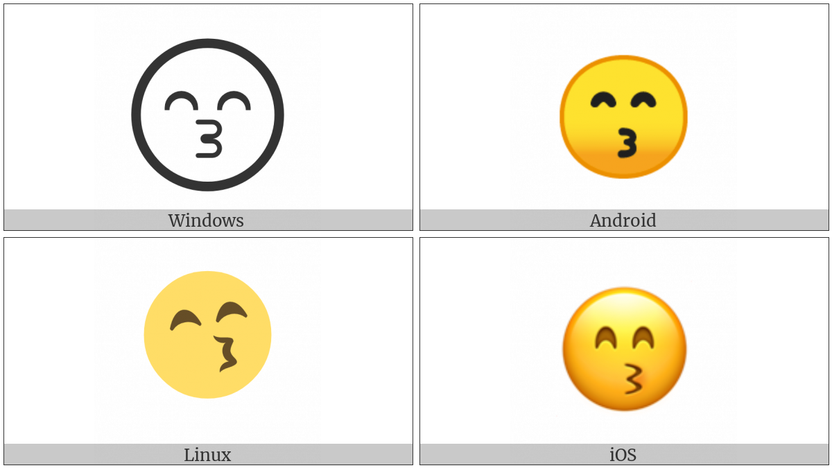 Kissing Face With Smiling Eyes on various operating systems
