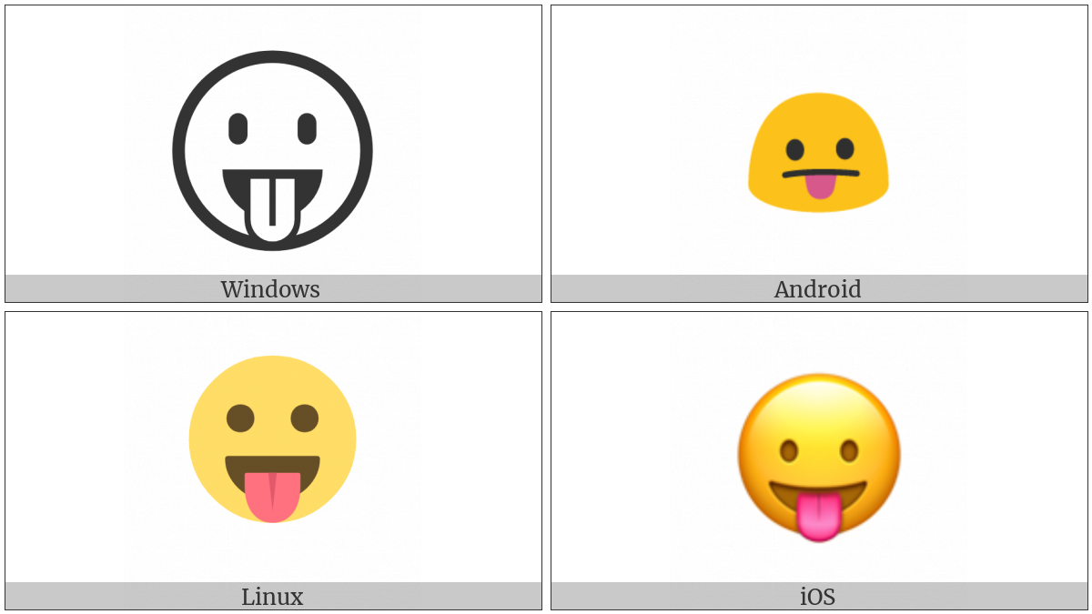 Face With Stuck-Out Tongue on various operating systems