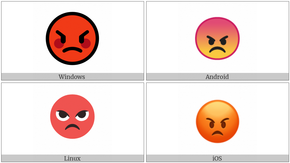 Pouting Face on various operating systems